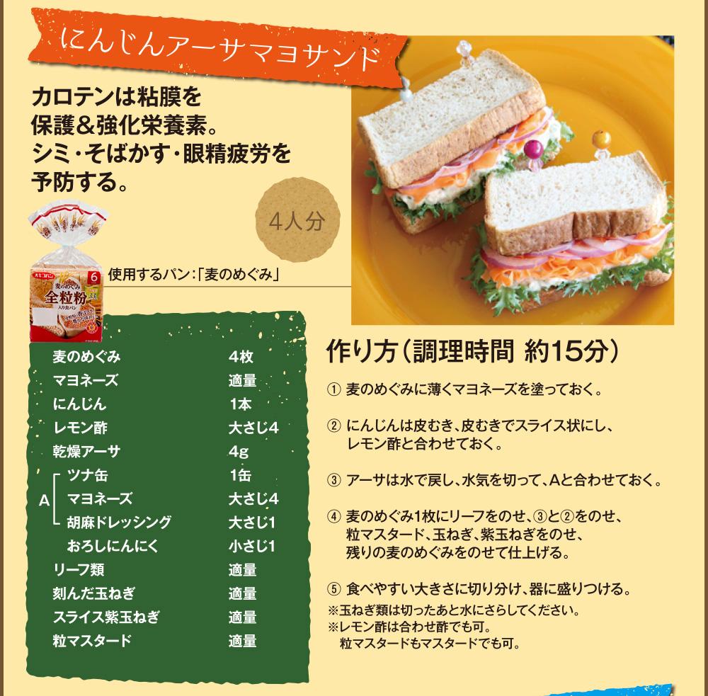 アレンジレシピ02「にんじんアーサマヨサンド」