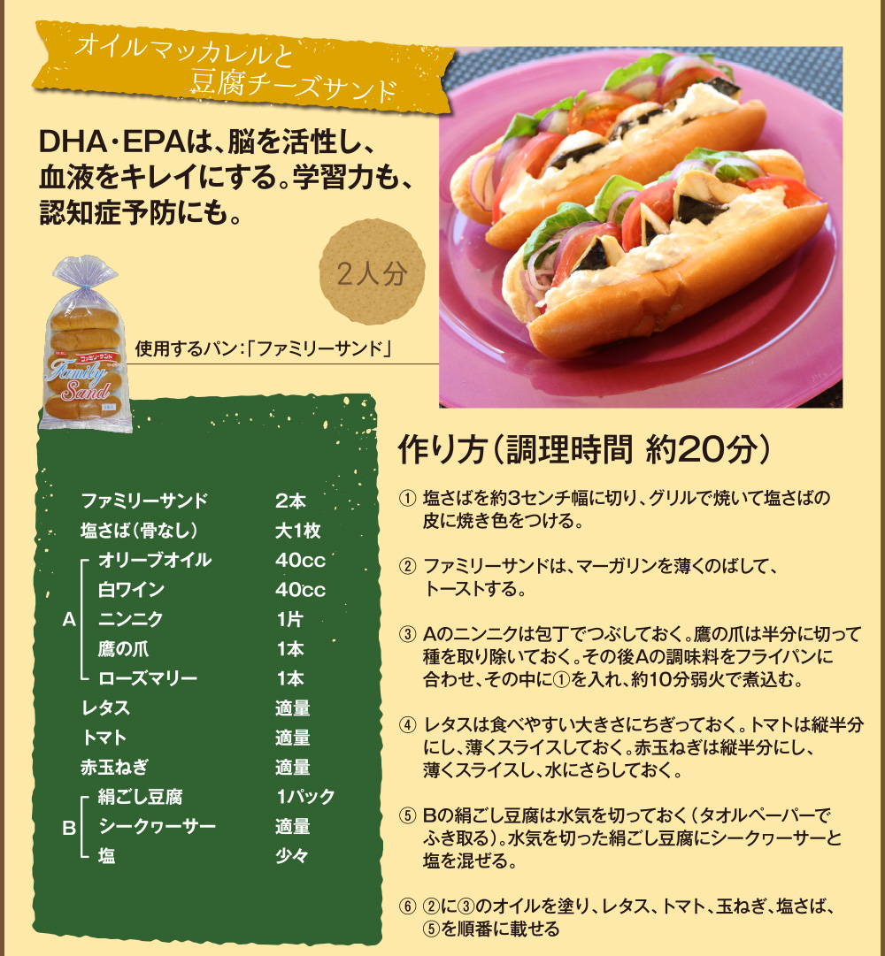 アレンジレシピ04「オイルマッカレルと豆腐チーズサンド」
